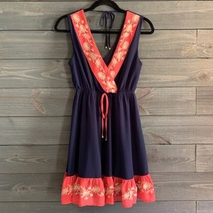 Adorable Navy and Coral Dress